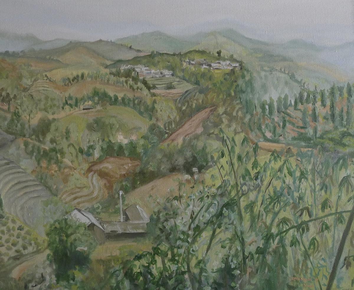 Yunnan hillside en plein air Cunningham 60 x 50 cm