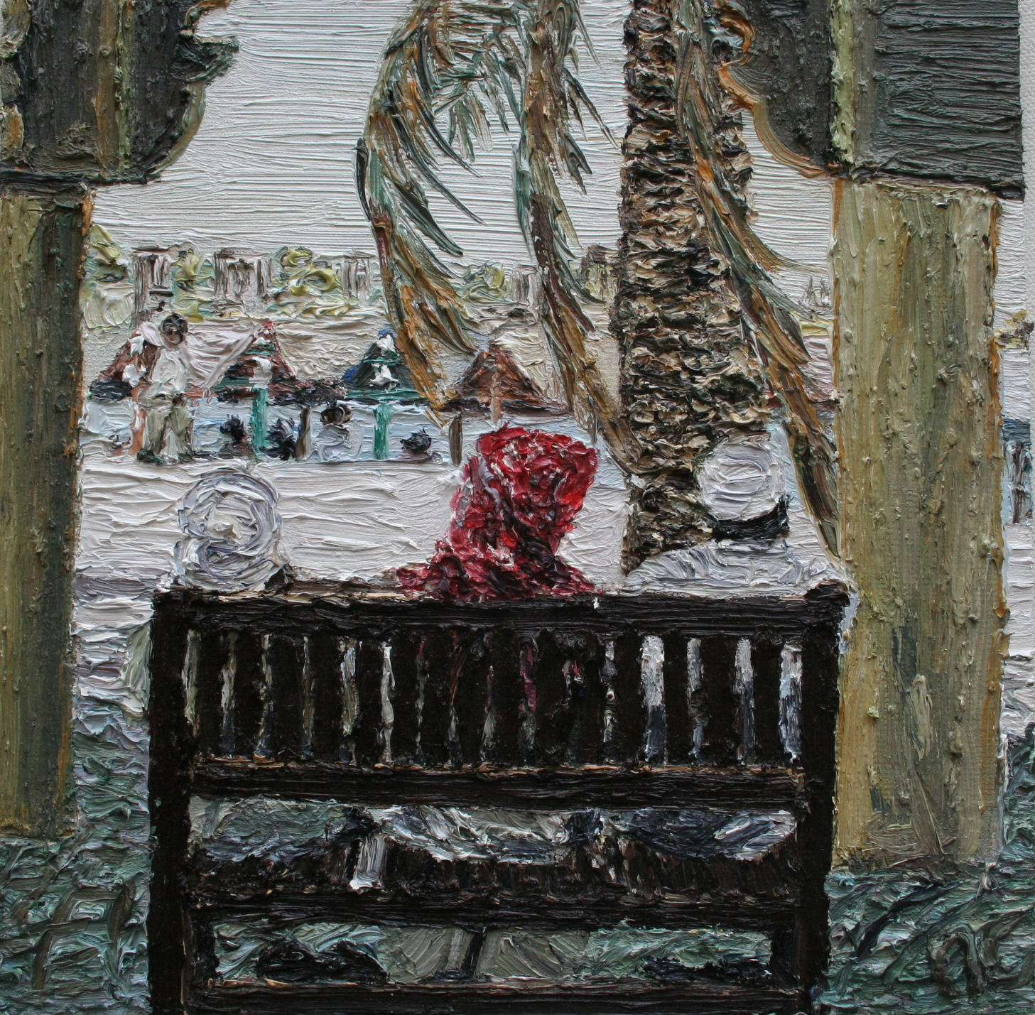 3 on a seat Dubai, Cunningham oil on board 20 x20 cm