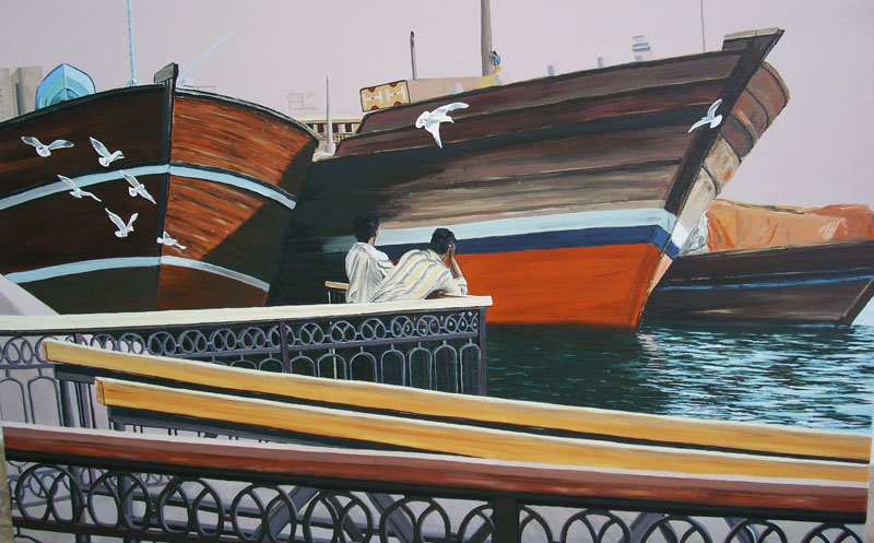 Deira Bird Watchers Dubai  Cunningham acrylic on canvas  80 x60 cm
