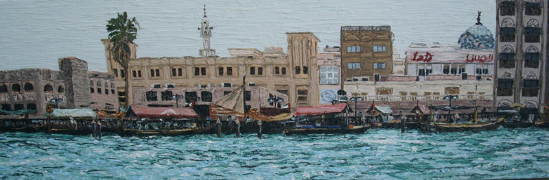 Bur-Dubai-Abra-station-Cunningham-oil-on-canvas-30-x90cm-
