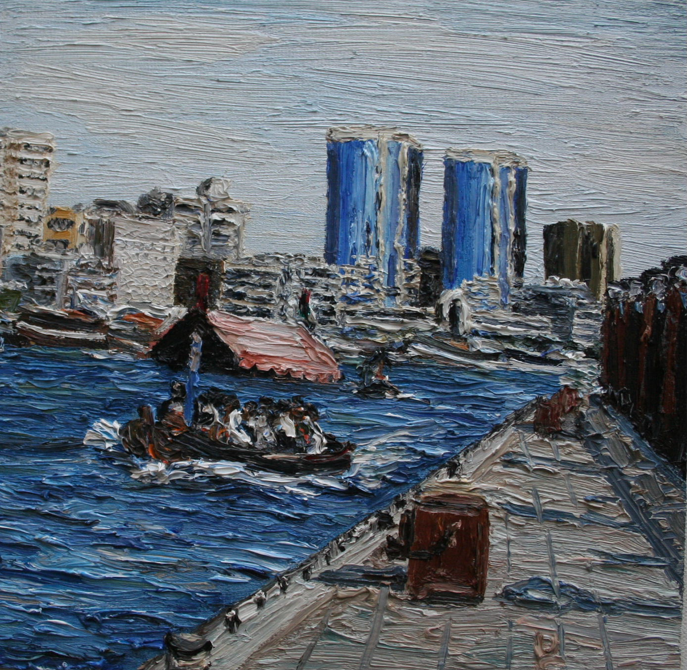 Creek walk Dubai Cunningham oil on board 20 x 20