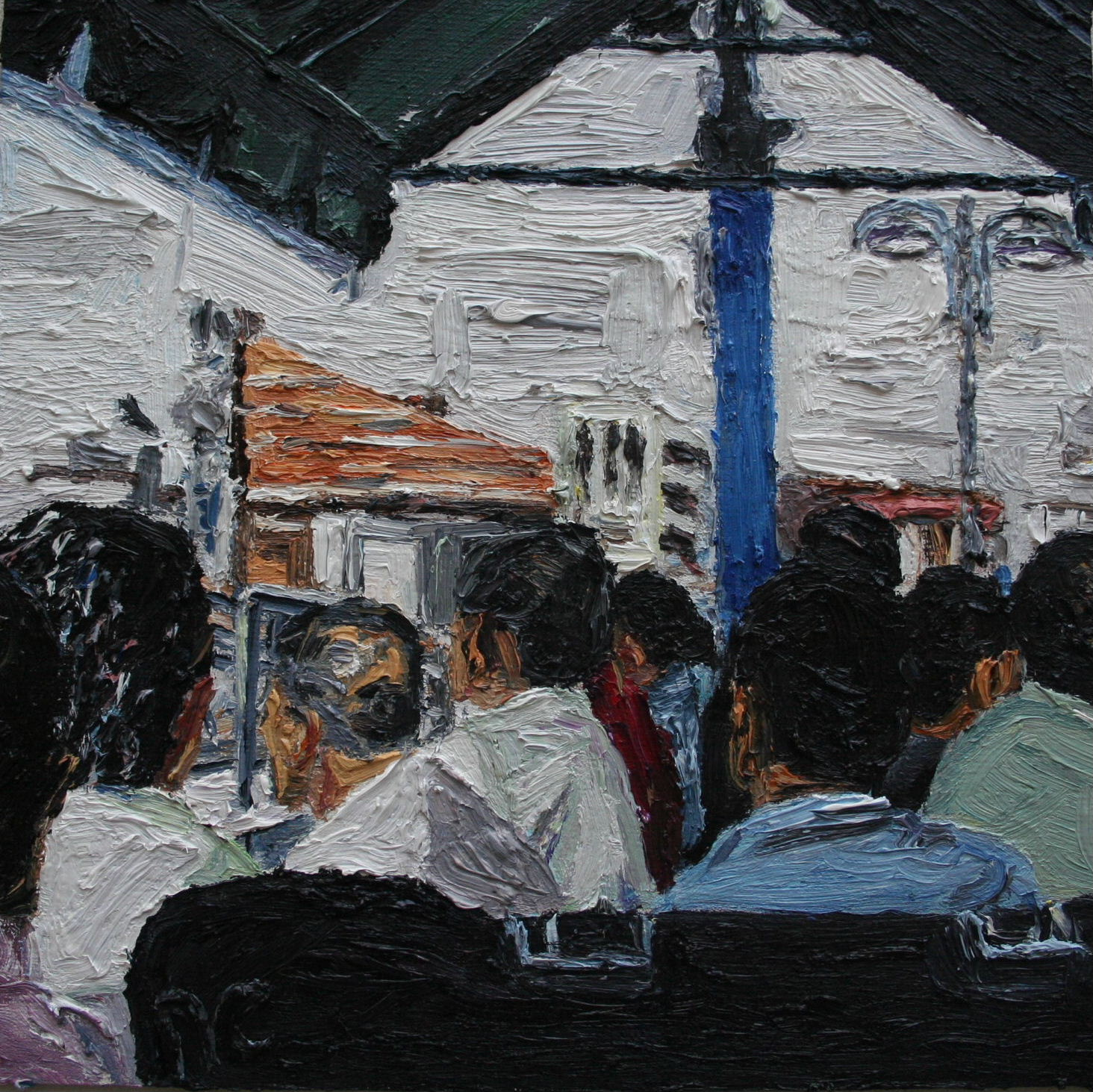 Deboarding Bur Dubai Cunningham oil on board 20 x 20 cm