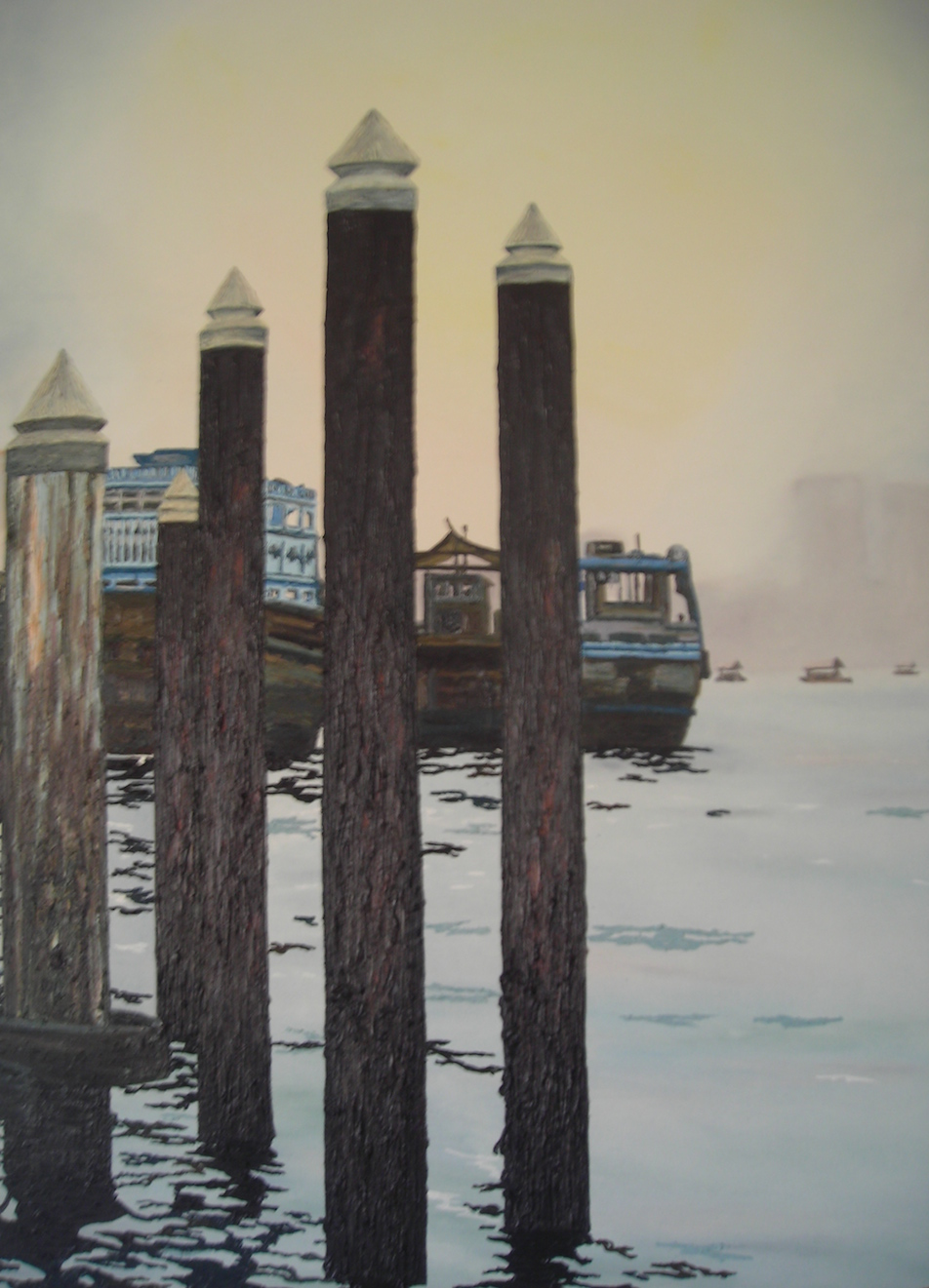 Deira Pillars Dubai Cunningham  oil on canvas 100 x 150cm