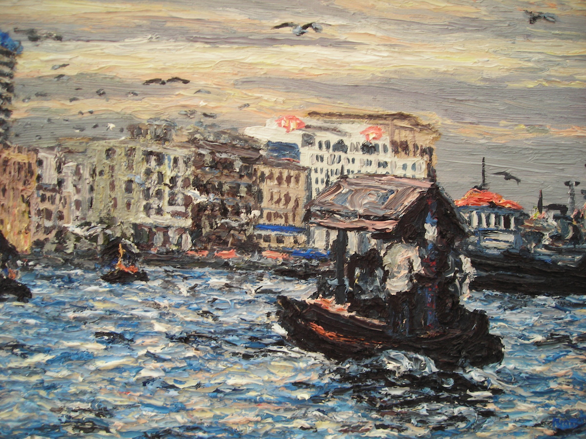 Dusk standing Dubai Cunningham oil on board 35 x 28 cm