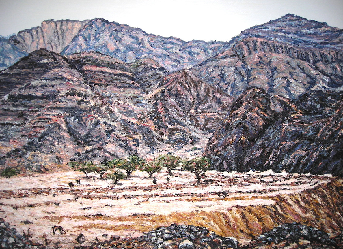 Fujairah wadi large UAE Cunningham oil on canvas 100 x 150cm