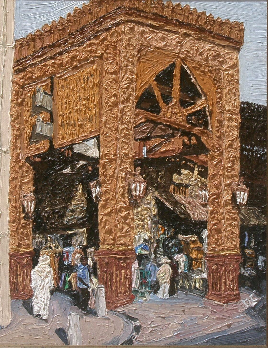 Old Souk impasto Dubai Cunningham Oil on board 30 x 38cm