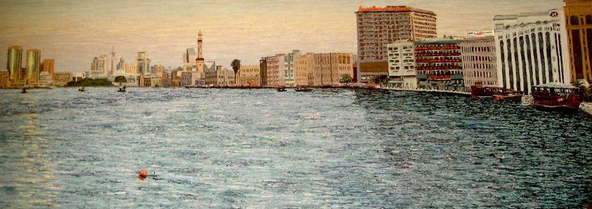 Panorama Dubai Cunningham oil on canvas 65 x 190cm