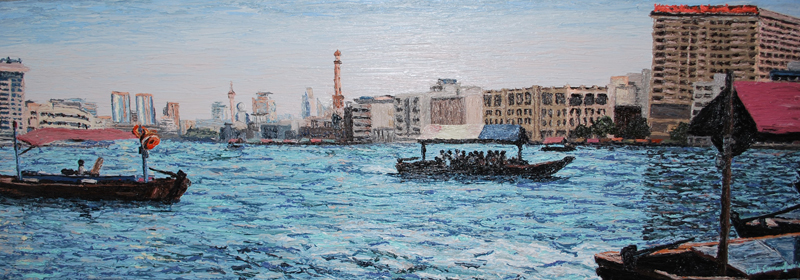 Passing Abras Dubai Cunningham il on canvas 30x 90 cm