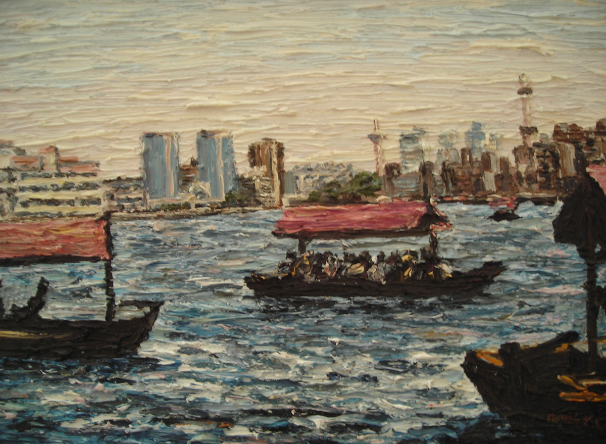 Small Passing. Dubai Cunningham oil on board 35 x 28 cm