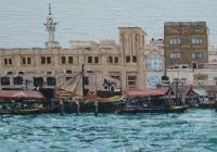 Bur-Dubai-Abra-station-Cunningham-oil-on-canvas-30-x90cm-