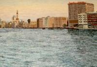 Panorama Dubai Cunningham oil on canvas 65 x 190cm