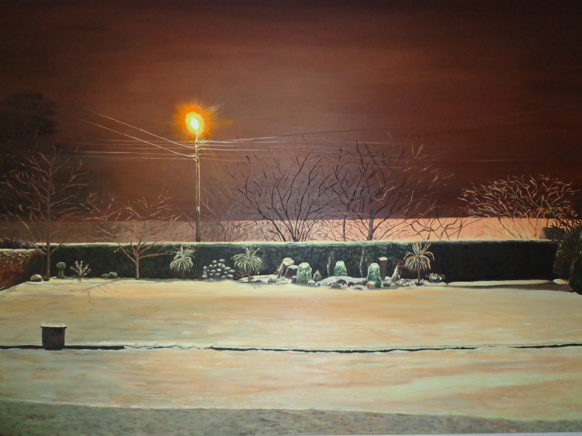 Snow in the Garden Carlow Cunningham Acrylic 120 x85 cm low res
